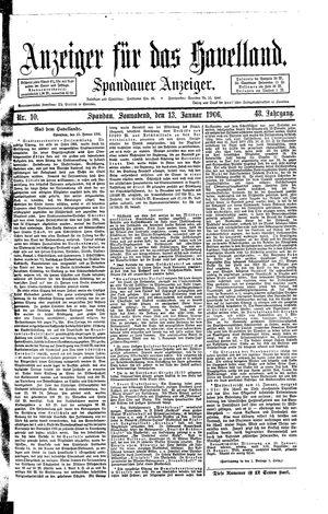 Anzeiger für das Havelland vom 13.01.1906