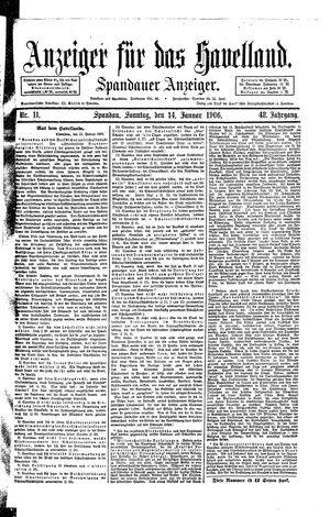 Anzeiger für das Havelland vom 14.01.1906
