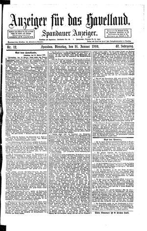 Anzeiger für das Havelland vom 16.01.1906
