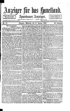 Anzeiger für das Havelland vom 17.01.1906