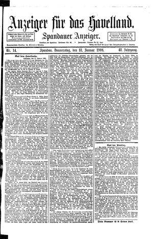 Anzeiger für das Havelland vom 18.01.1906