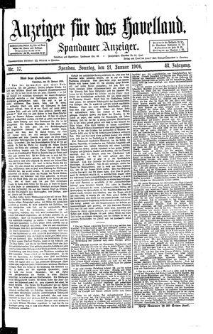 Anzeiger für das Havelland vom 21.01.1906