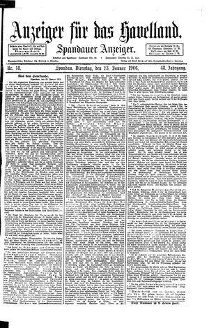Anzeiger für das Havelland vom 23.01.1906