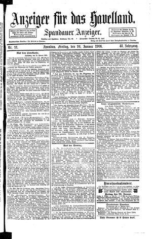Anzeiger für das Havelland vom 26.01.1906