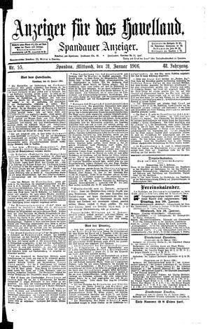 Anzeiger für das Havelland vom 31.01.1906