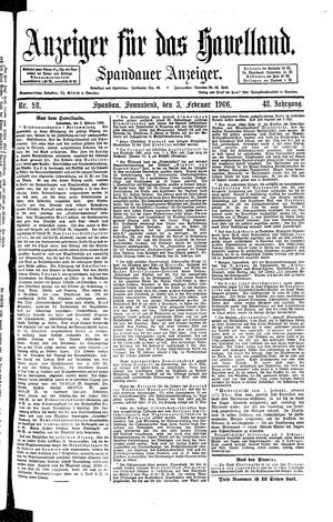 Anzeiger für das Havelland vom 03.02.1906