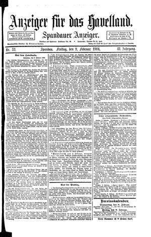 Anzeiger für das Havelland vom 09.02.1906
