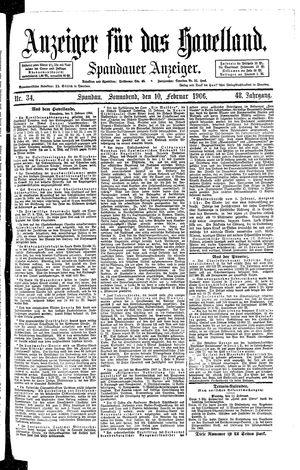 Anzeiger für das Havelland vom 10.02.1906
