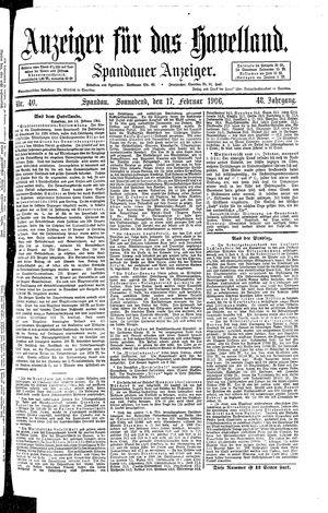Anzeiger für das Havelland vom 17.02.1906