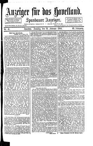 Anzeiger für das Havelland vom 18.02.1906