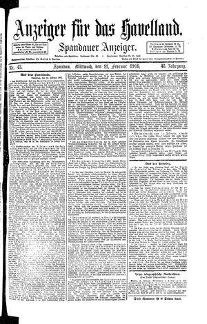 Anzeiger für das Havelland vom 21.02.1906