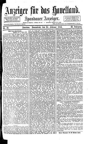 Anzeiger für das Havelland vom 24.02.1906