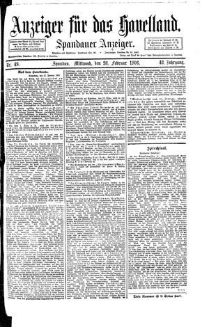 Anzeiger für das Havelland vom 28.02.1906
