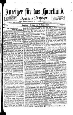 Anzeiger für das Havelland vom 02.03.1906