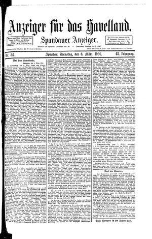 Anzeiger für das Havelland vom 06.03.1906