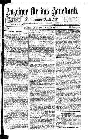 Anzeiger für das Havelland vom 10.03.1906