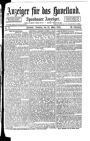 Anzeiger für das Havelland vom 25.03.1906