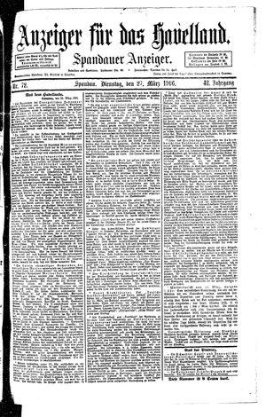 Anzeiger für das Havelland vom 27.03.1906