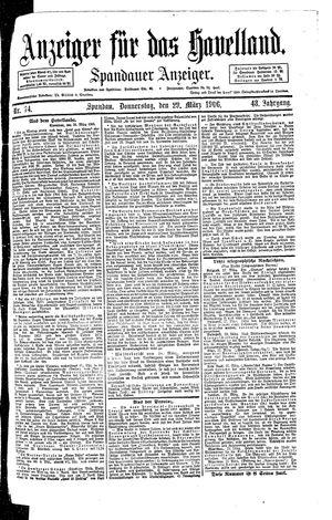 Anzeiger für das Havelland vom 29.03.1906