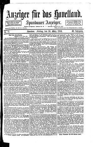 Anzeiger für das Havelland vom 30.03.1906