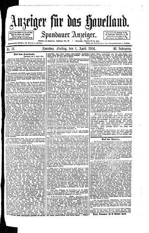 Anzeiger für das Havelland vom 06.04.1906