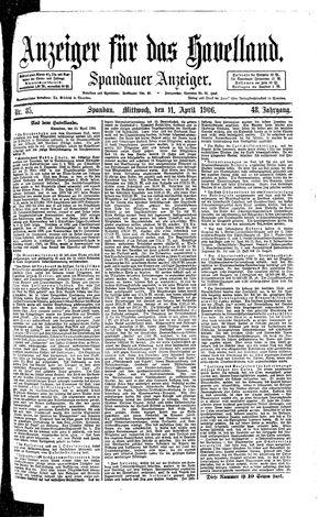 Anzeiger für das Havelland vom 11.04.1906