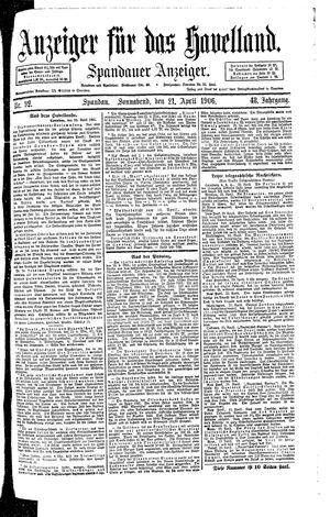 Anzeiger für das Havelland vom 21.04.1906