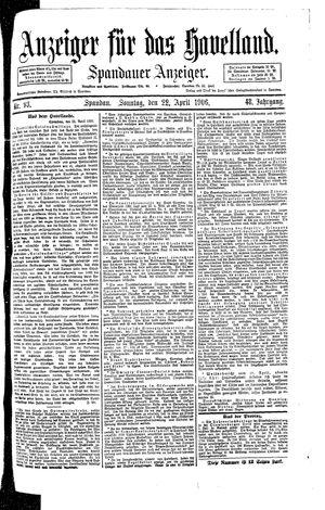 Anzeiger für das Havelland vom 22.04.1906