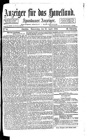 Anzeiger für das Havelland vom 26.04.1906