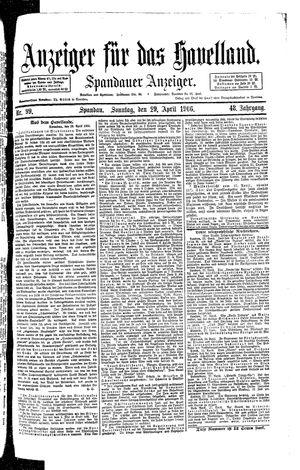 Anzeiger für das Havelland vom 29.04.1906