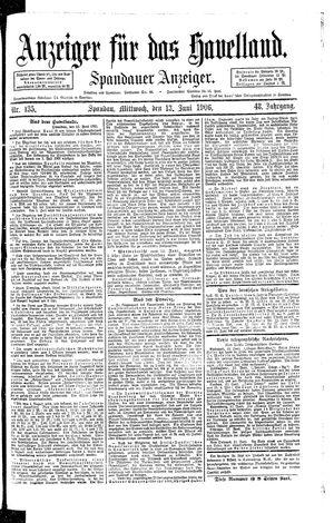 Anzeiger für das Havelland vom 13.06.1906