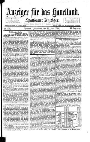Anzeiger für das Havelland vom 16.06.1906