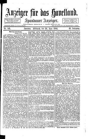 Anzeiger für das Havelland vom 20.06.1906