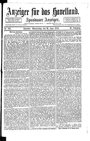 Anzeiger für das Havelland vom 21.06.1906