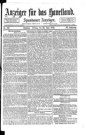 Anzeiger für das Havelland vom 22.06.1906