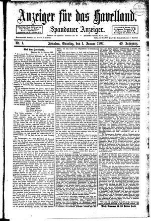 Anzeiger für das Havelland vom 01.01.1907