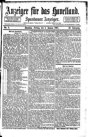 Anzeiger für das Havelland vom 04.01.1907