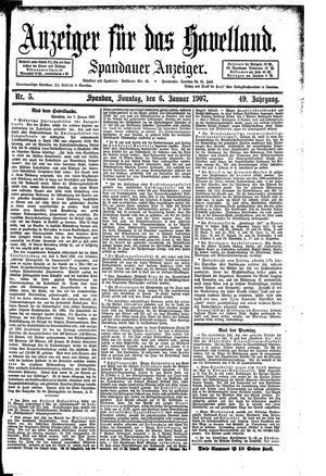 Anzeiger für das Havelland vom 06.01.1907