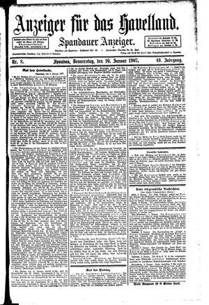 Anzeiger für das Havelland vom 10.01.1907