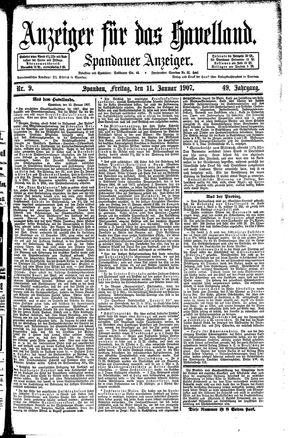 Anzeiger für das Havelland vom 11.01.1907