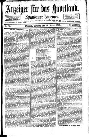Anzeiger für das Havelland vom 15.01.1907