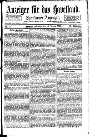 Anzeiger für das Havelland vom 16.01.1907