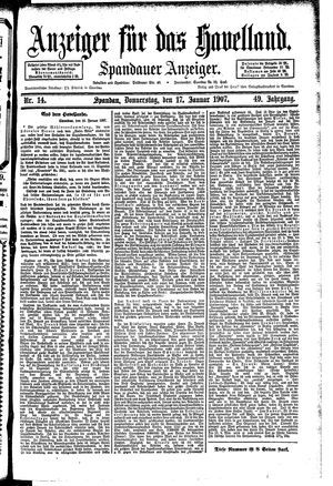 Anzeiger für das Havelland vom 17.01.1907