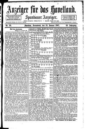 Anzeiger für das Havelland vom 19.01.1907