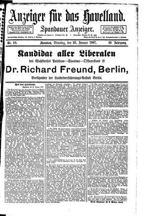 Anzeiger für das Havelland vom 22.01.1907