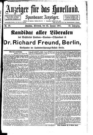 Anzeiger für das Havelland vom 23.01.1907