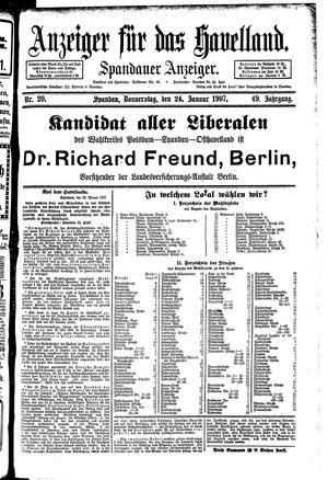 Anzeiger für das Havelland on Jan 24, 1907