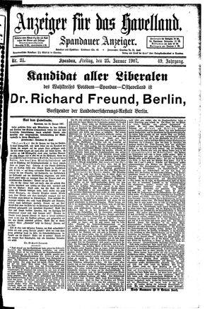 Anzeiger für das Havelland on Jan 25, 1907