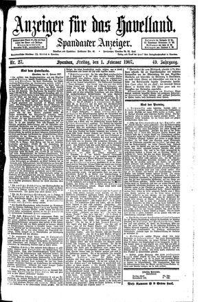 Anzeiger für das Havelland vom 01.02.1907