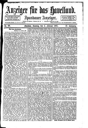 Anzeiger für das Havelland vom 03.02.1907